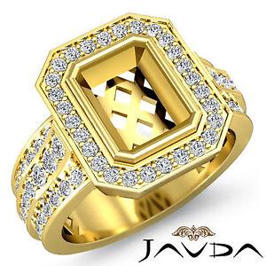 Diamond Anniversary Ring 14k Yellow Gold Emerald Shape Semi Mount  Pave 1.62Ct