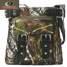 Black Mossy Oak Licensed Camo Camouflage Western Purse Messenger Cross Body Bag