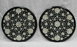 "21"" Marble Dining Table Top Inlay Rare Semi Round Center Coffee Table AR0930"