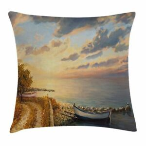 Art Throw Pillow Case Romantic Sunrise by Sea Square Cushion Cover 24 Inches