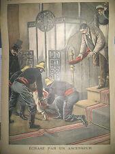 POMPIER RUE LAFAYETTE SECOURS HOMME ECRASé PAR ASCENSEUR LE PETIT JOURNAL 1899