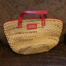 Escada Cherry In The Air Wicker Straw Woven Summer Tote Bag Lined Beach Red