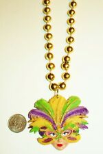 New Orleans Mardi Gras Feathered Mask Lady Charm Gold Bead Necklace