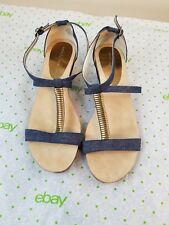 AK Anne Klein iflex Jerica Denim T-strap Wedge Sandals Sz 8M EUC