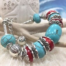 New Vintage Silver Bracelet Turquoise & Red Coral Bead with Ext Chain