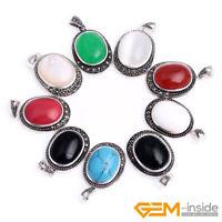 Oval Gemstone Beads Tibetan Silver Marcasite Jewelry Charm Pendant 20x36mm
