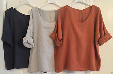 New Ladies Italian BOHO Lagenlook LAYERING Plain Lightweight LINEN Short Top