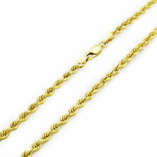 """Rope Chain Link Necklace Lobster Clasp 24"""" 14k Real Yellow Gold 3mm Diamond Cut"""