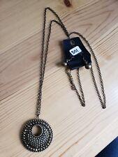 Paparazzi Long Necklace & Earring set(new)BRONZE W/ PENDANT 301