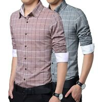 TSC6215 New Fashion Men's Stylish Plaid Casual Dress Slim Fit Shirts