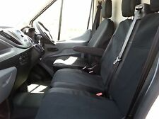 BLACK FABRIC SEAT COVERS TAILORED TO FIT FORD TRANSIT CUSTOM 2013 + RHD