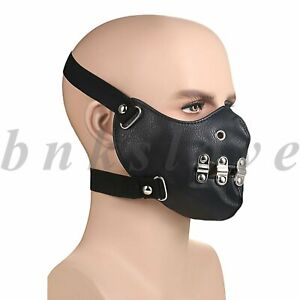 Punk Hollow Leather Breathable Half Face Mouth Cover Anti-dust Protection Shield