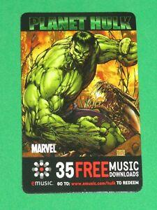 2006 PLANET HULK PHONE PROMO CARD 35 FREE MUSIC DOWNLOADS! MARVEL! INCREDIBLE!