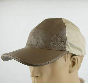 Gucci Brown Leather Beige Cotton Baseball Cap Hat w/Interlocking G 337798 2573