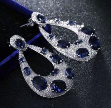 18k White Gold Long Earrings made w Swarovski Sapphire Blue Stone Quality Jewel