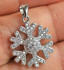 18K White Gold Filled-Simple Snowflake Topaz Pendant Necklace