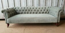 Stunning Victorian Chesterfield 3 Seater Sofa Mint Green Fabric