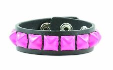 Studded Hot Pink Pyramid Leather Bracelet Punk Gothic Thrash Metal Rockabilly
