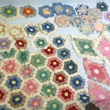 An-Lot hand pieced 1930s Grandmother's Flower Garden cotton fabric quilt blocks