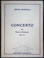 Henri Martelli - Concerto for Piano & Orchestra - study score sheet music book