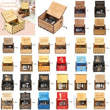 Mini Vintage Wooden Carved Hand Cranked Music Box Home Decor Ornament Toy Gift
