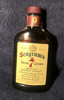 VTG 1/2 Pint SEAGRAM'S SEVEN 7 CROWN WHISKEY BOTTLE! 86 Proof, w/ Tax Stamp