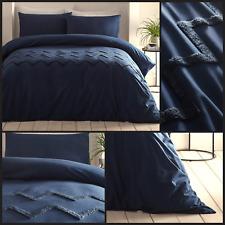 Appletree Bedding Chevron Tuft 100% Cotton Soft Luxurious Navy Duvet Cover Set