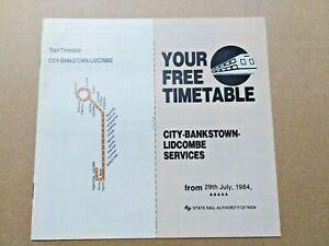 STATE RAIL NSW TIMETABLE RAILWAYS TRAIN CITY BANKSTOWN LIDCOMBE SERVICES 1984