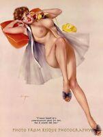 "Nude Woman Takes Phone Call 8.5x11"" Photo Print, Alberto Vargas Pin-up Art"