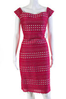 Eliza J Womens Off The Shoulder Laser Cut Sheath Dress Pink Size 12