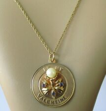 14ct Gold Necklace -  Sapphire & Pearl 'BE MY VALENTINE' Pendant & Chain