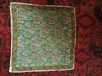60s Vintage Silk Paisley Scarf-Fancy-India- Hand Rolled-Boho Hippie Gypsy 21x22""