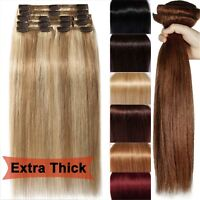 Luxury Clip In Remy Human Hair Extensions Thick Double Weft Full Head 12''~26''