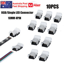 10X 10mm 4-Pin 5050 RGB End Connector Clips for LED Strip lights - No Soldering
