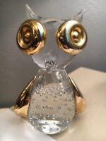 Vintage Glass Owl Figurine - Mid Century Modern MCM gold and crystal