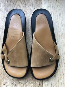 BNWOT. Tan Suede Mules By French Designer Robert Clergerie. Sz 4 1/2