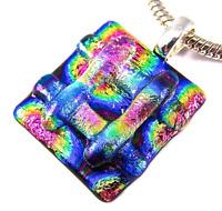 DICHROIC Glass PENDANT Rainbow Silver Slide Blue Pink Gold Tie Dye Stripe Layers