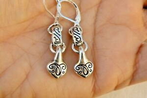 Altered Brighton Silver Etched Charm On Lever Back Earrings