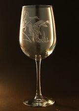 New! Etched Flying Ducks on Elegant White Wine Glasses - Set of 2