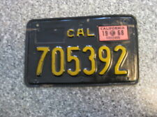 1963 Black California Motorcycle License Plate, 1968 Validation, DMV Clear