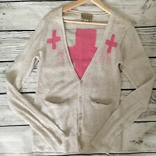 Wildfox White Label Ivory Cardigan Women's Pink Plus Sign SZ XS