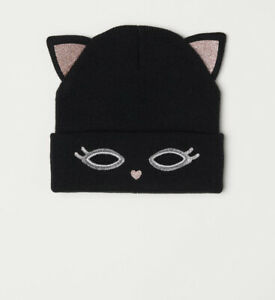 H&M Fine Knit Black Cat Beanie One Size