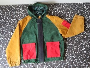 Suede bomber jacket Italian Style Vintage gray 80/'s retro lined hipster patchwork men L