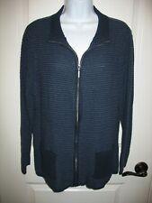 Karen Scott Cardigan Sweater Sz XL Navy Blue Zip Front Long Sleeve Womens