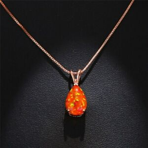 """Rose Gold Plated Water Drop Orange Fire Opal Necklace Pendant With 18"""" Chain"""