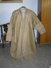 Antique Slavic Tribal Coat Boiled Wool lined w faux Black Fur Carriage Blanket L