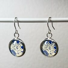 LACE EARRINGS - Blue And White