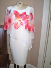 FRANK LYMAN WHITE DRESS WITH ATTACHED FLORAL PRINT OVERLAY SIZE 8 LINED