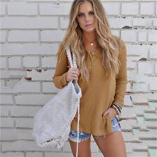 Womens Warm Long Sleeve Button Knitted Split Sweater Tops Pullover Winter Jumper