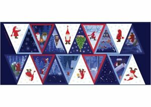 Lewis & Irene Christmas Tomte & Friends BUNTING CE10 100% COTTON FABRIC PANEL